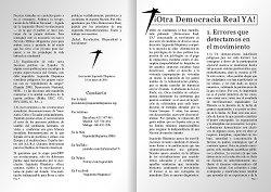 Folleto A4 plegado a doble cara con 4 páginas en total sobre la postura de IH con respecto al 15m, Democracia Real Ya y AcampadaSol